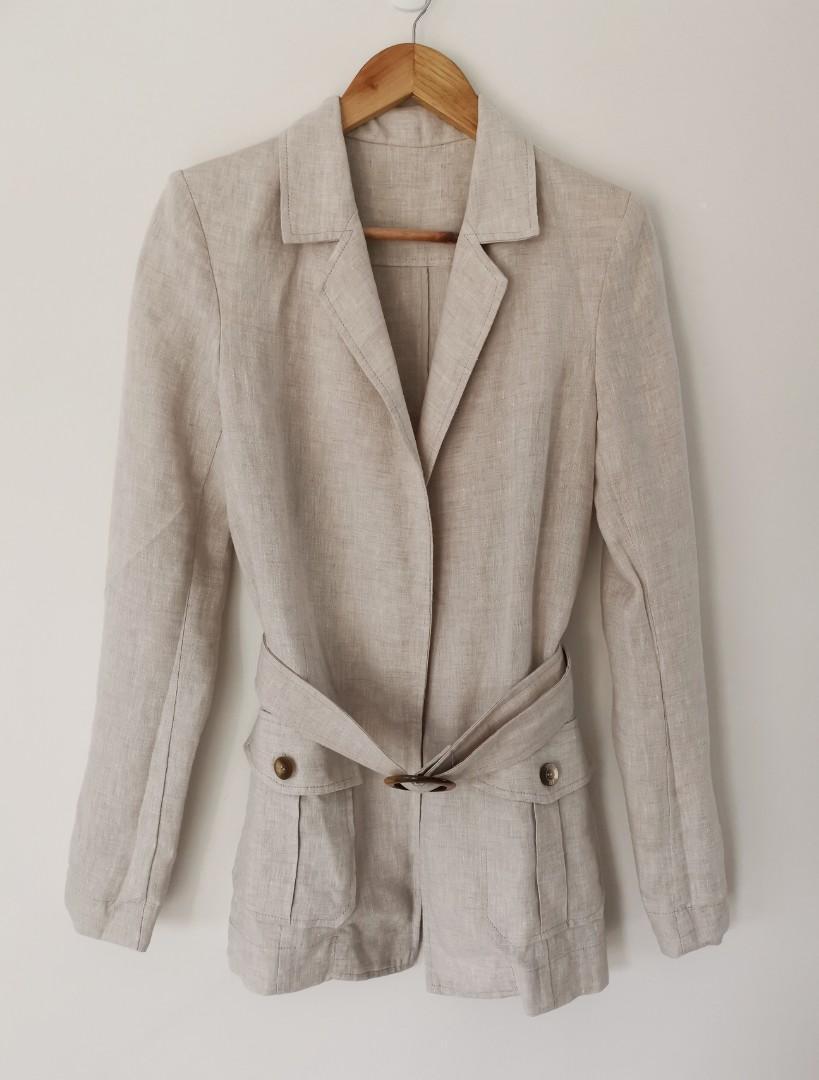 Bec & Bridge Bon Voyage Linen Belted Jacket in Natural - Size 8