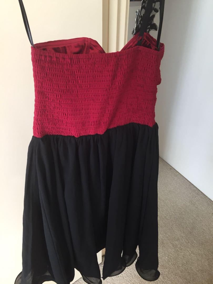 Black & wine embroidered cocktail dress