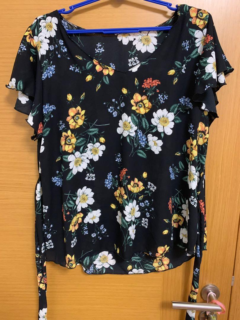Black Floral Chiffon Top