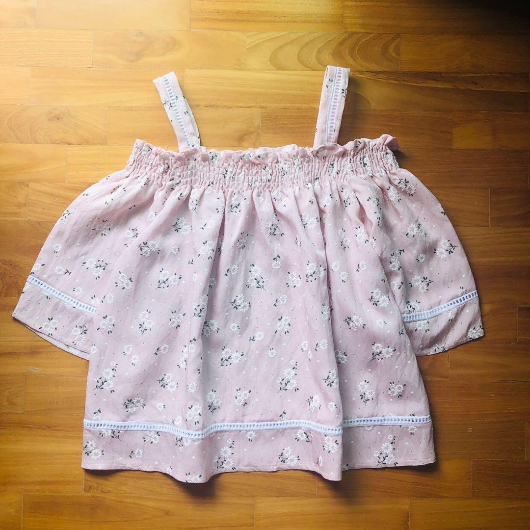 BN Baby Pink Floral Off Shoulder Top