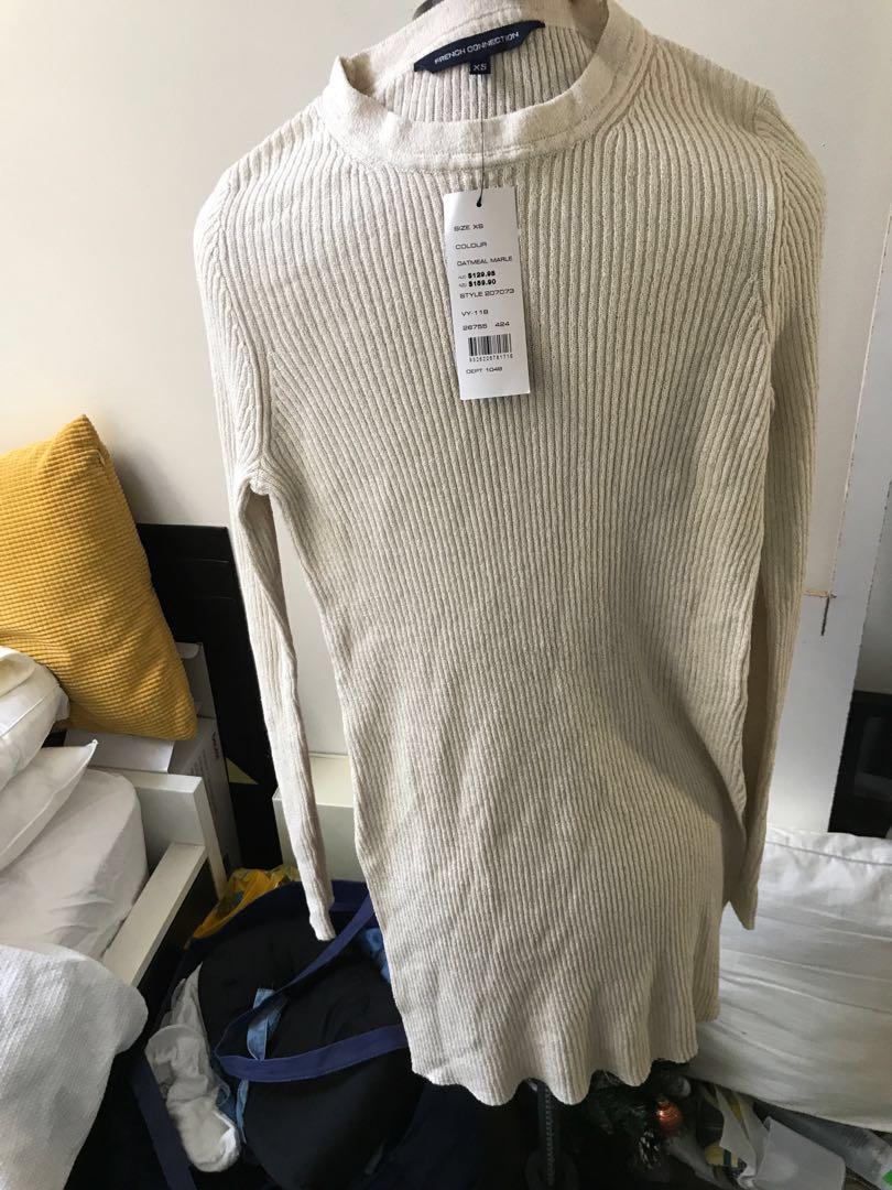 BNWT French connection side split tunic dress knit #swapAU