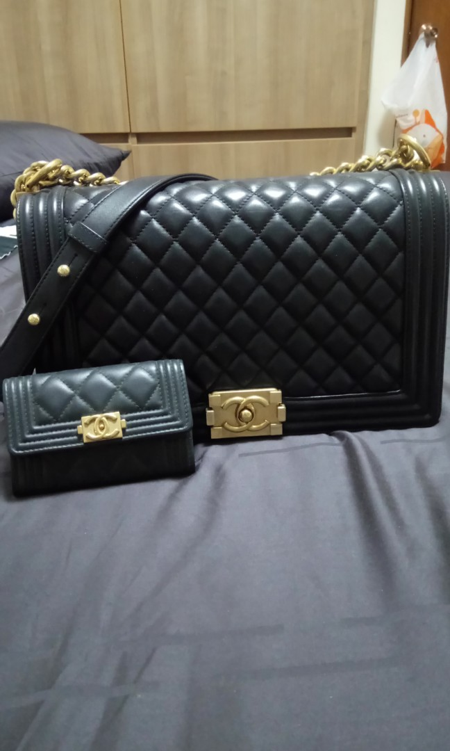 b1f27208f1a522 Chanel boy black., Luxury, Bags & Wallets, Sling Bags on Carousell