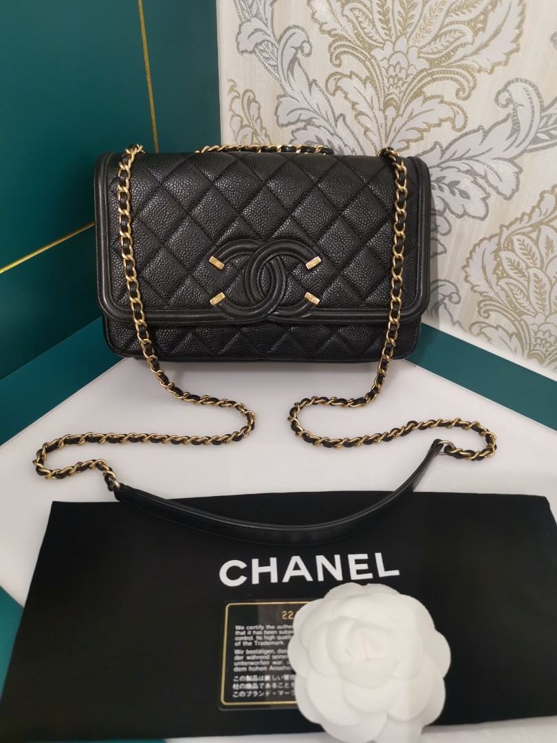 9ce14781d25c56 ❌ RESERVED ❌Chanel CC Filigree Flap Small Black Caviar with GHW, Luxury,  Bags & Wallets, Handbags on Carousell