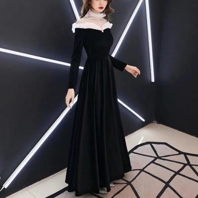 eb32d78fd0a2b Elegant royal design high neck black white dress / evening gown ...