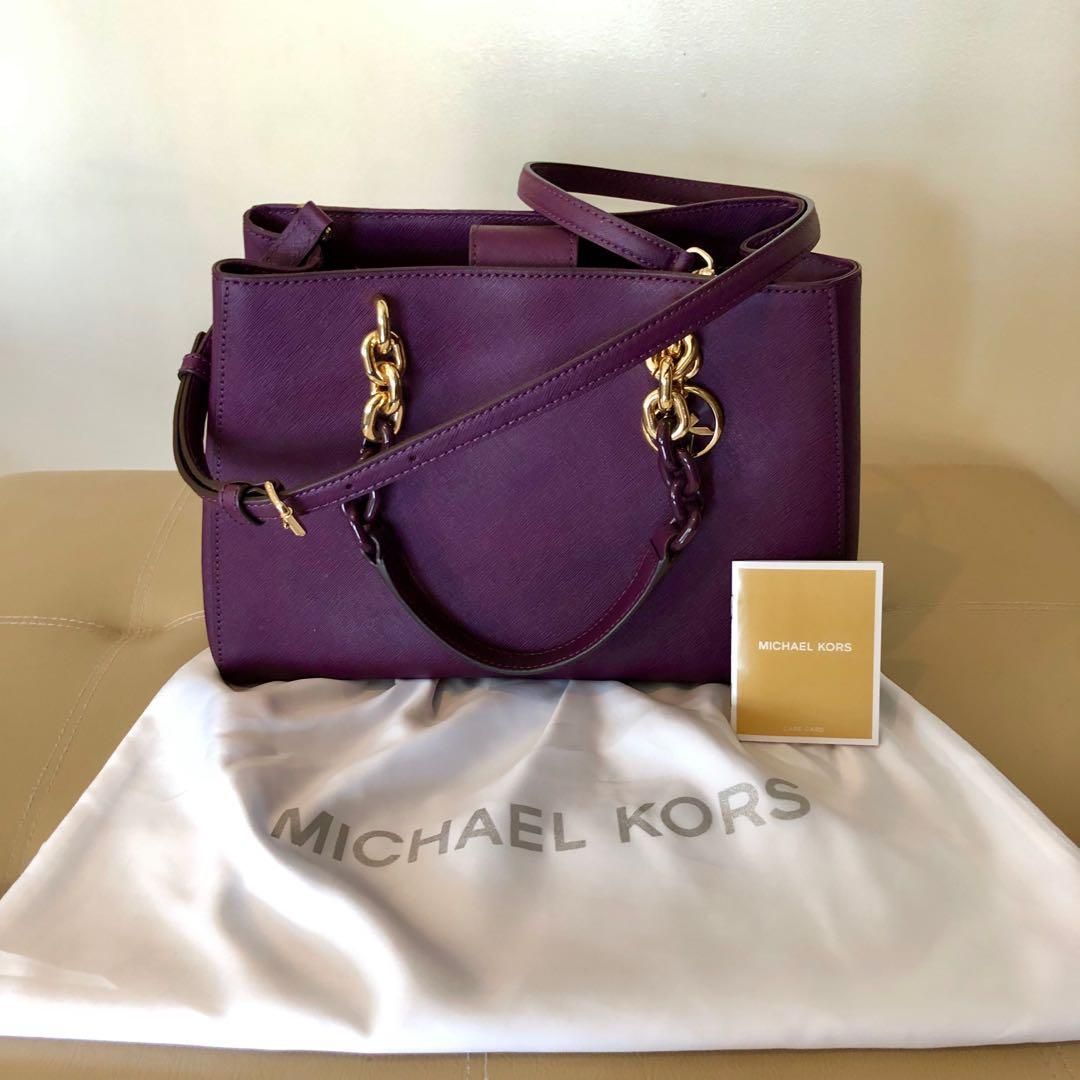 8d343d4cca26cc Michael Kors CYNTHIA Medium Saffiano Leather Satchel in Damson Purple 💜 on  Carousell
