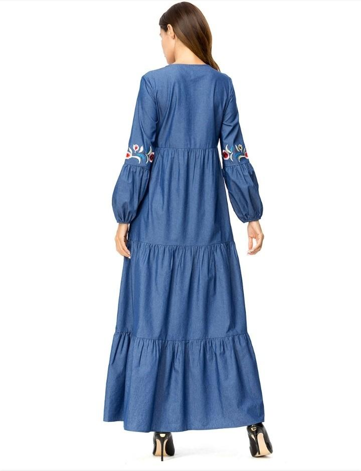 Muslim Denim Flare Dubai Fashion Dress