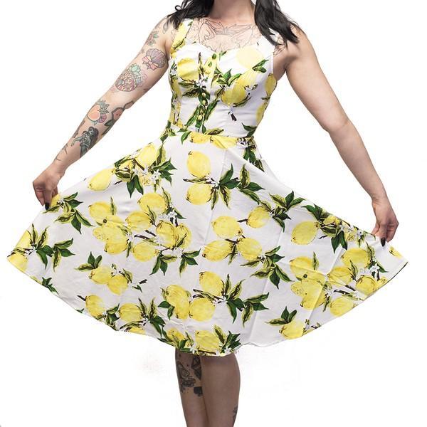 🍋 Ophia White Lemon Pattern Skater Dress - Size 8 🍋