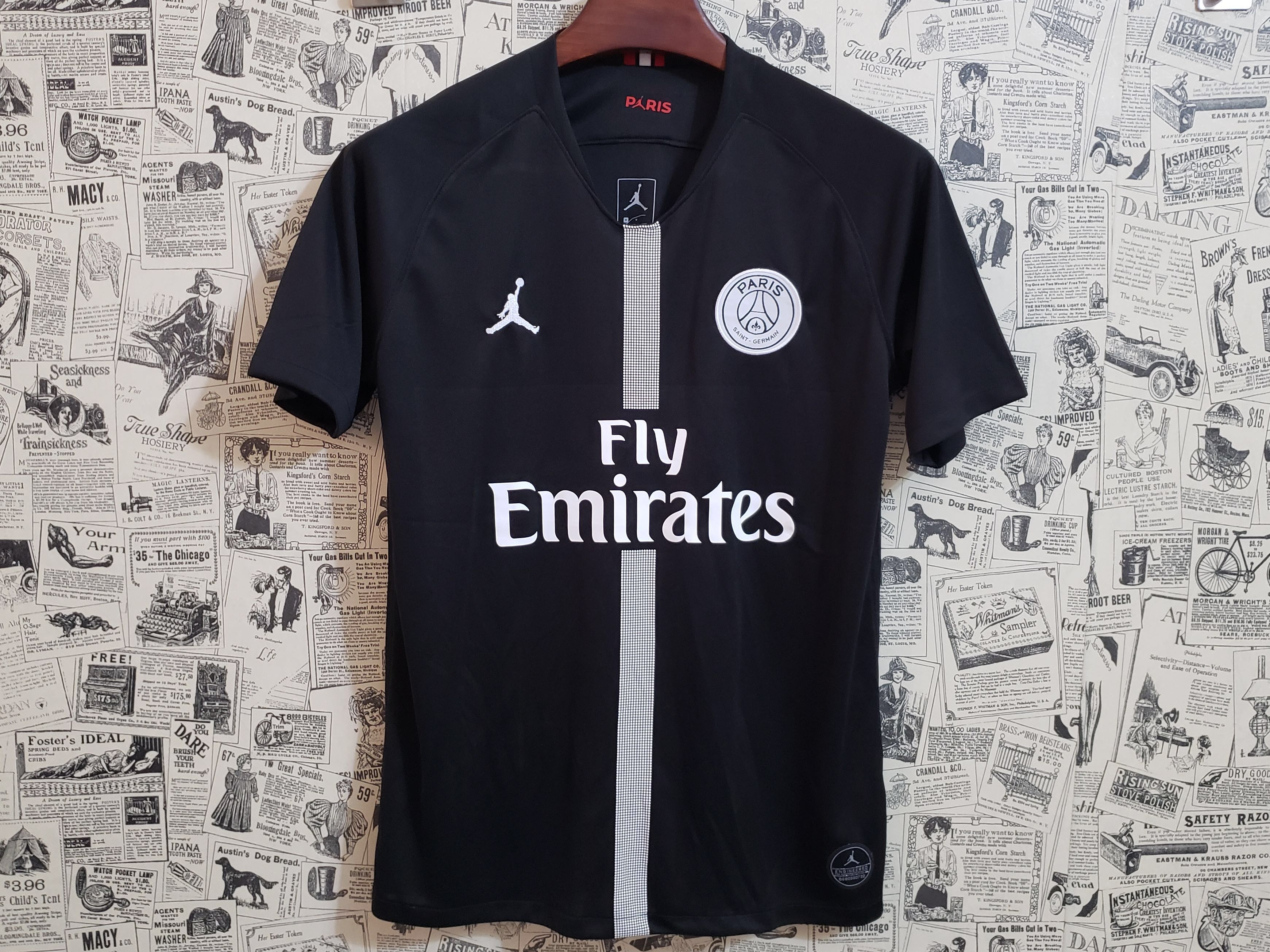 291fe7dd8 PO] 18-19 PSG JORDAN 3rd Away Black Soccer Jersey Shirt, Sports ...