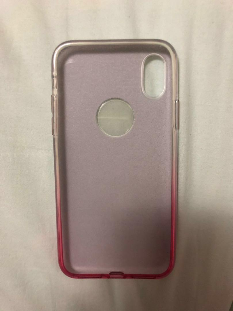 Silver-Pink Glitter Case for iPhone X