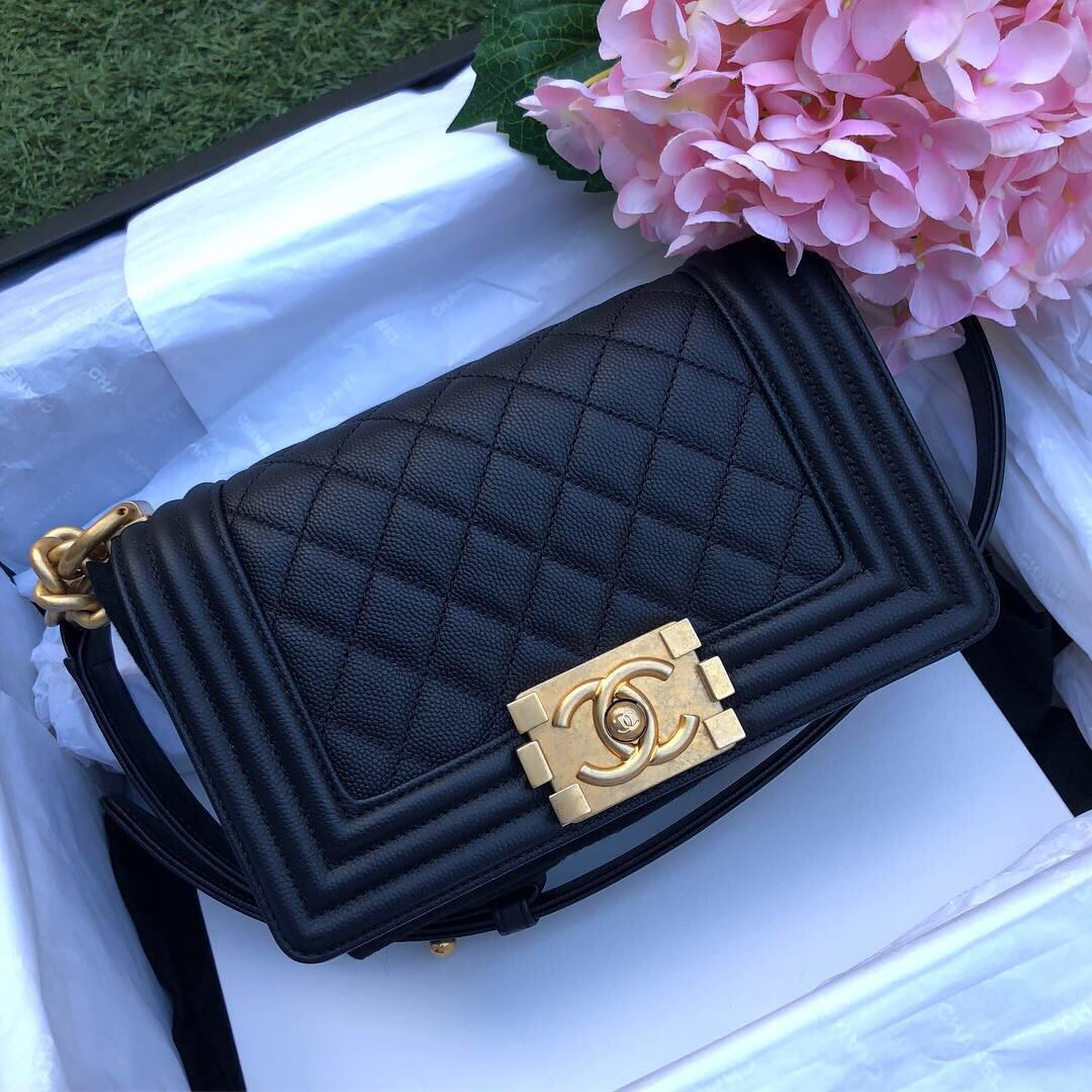 a295513208418a ❌SOLD!❌ Beautiful and Super Rare!🖤 Chanel Le Boy Flap Small In Black  Caviar Aged GHW, Luxury, Bags & Wallets, Handbags on Carousell