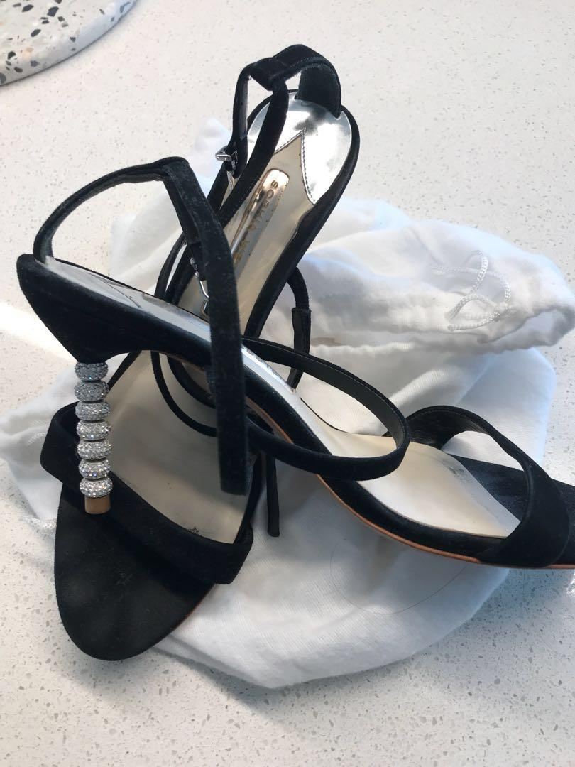 Sophia Webster strappy black heels with crystal heel