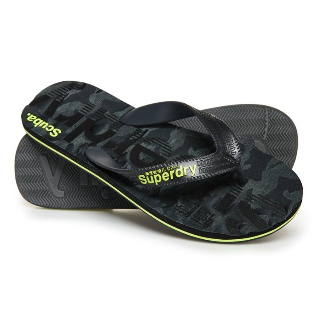 b8f5d93c Superdry flip flops / slippers in black, Men's Fashion, Footwear, Slippers  & Sandals on Carousell