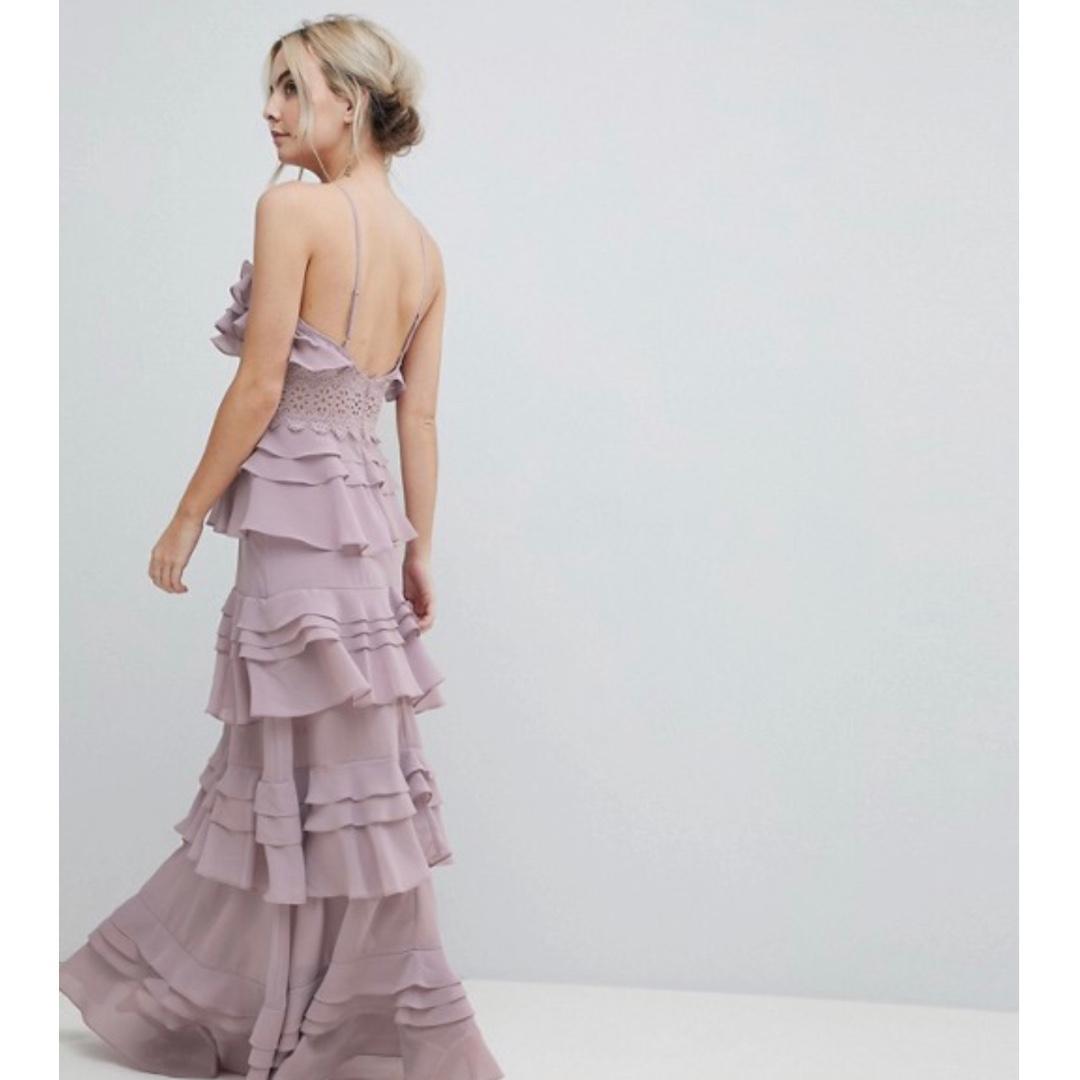 True Decadence Petite Premium Frill Layered Cami Maxi Dress With Lace Insert - COLOUR: Soft purple