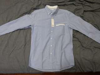 牛津配色長袖襯衫 藍 M號