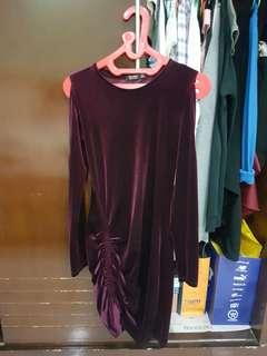 Bershka Bodycon Dress (maroon)