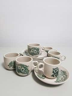 Vintage traditional 6-pcs coffee cups set