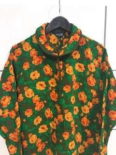 🚚 古著綠色黃花棉麻長袖