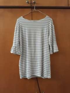 Striped White Ruffle Sleeved Top