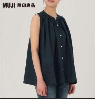 全新Muji無印良品 深藍色法國亞麻無袖背心  附吊牌 尺寸: S號 特惠價:450