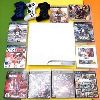 Sony PS3 with 3 controllers and 10 original games CECH-2512B