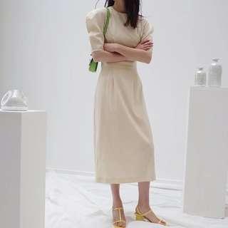 復古米黃色長連身裙Vintage cream dress
