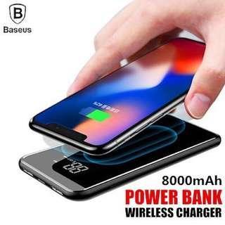 Baseus LCD 8000mAh QI Wireless Charger 2A Dual