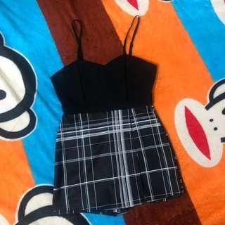 ONE PIECE / BLACK TOP WITH CHECKERED PRINTS