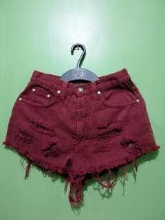 High Waist Shorts   Maroon
