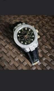 Preloved rolex daytona half gold black diamond dial 116523