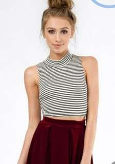 Cotton On Turtleneck Striped Crop top