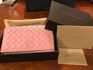 Bottega Veneta BV 玫瑰粉、鮭魚嫩粉 經典編織卡夾包 小零錢包