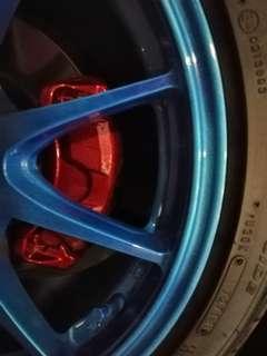 Metallic Flash Medium Blue Rims w/ Metallic Candy Red Calipers Spray