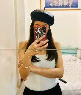 皮革 蓓蕾帽 貝雷帽 小畫家帽