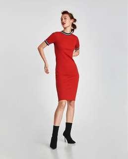 ZARA RED BODYCON T-SHIRT DRESS