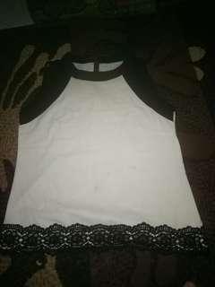 Tank top / halter top putih hitam by ada woman