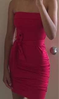 Red strapless kookai dress