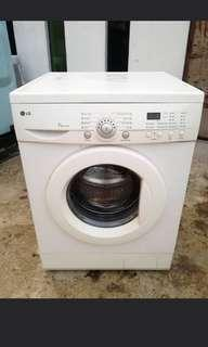 Used LG front load hot washer 7.0kg washing machine mesin basuh fully automatic stainless steel drum in good condition