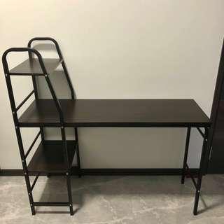 Slim Work Desk / Table with Shelves