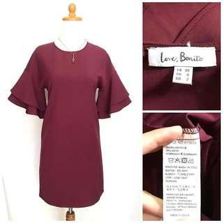 Maroon Dress Love Bonito . Harga nett !
