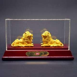 The HSBC lions - Stephen and Stitt 匯豐銀行 金獅子擺設 絕版 極罕有 有證書