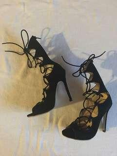 Black Lace-up Heels - Size 6