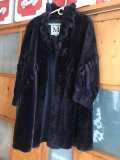 「MICHELLE BORDEAU」意大利製 紫藍色色仿皮草中長大衣外套