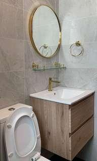 Gold colour basin mixer+ ss basin cabinet + gold mirror 60cm package