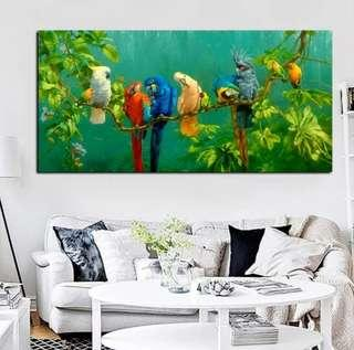 In stock- Parrots on tree branch Canvas Painting