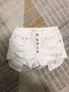 American eagle outfitters hi rise festival shortie 白色短褲