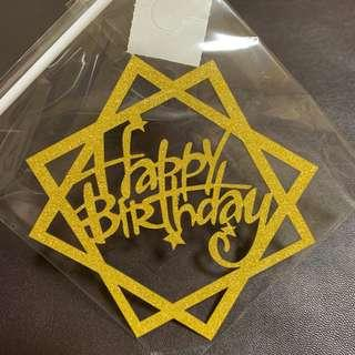 Double Square Happy Birthday Cake Toppers in Gold