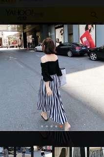 🚚 Miustar 雪紡條紋百摺寬褲 free size