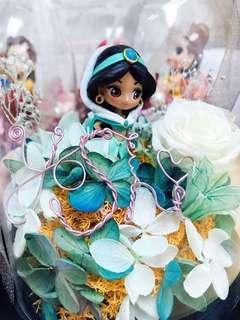 Qposket茉莉公主玻璃罩保鮮花