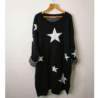 厚磅針織個性星星長版上衣/洋裝