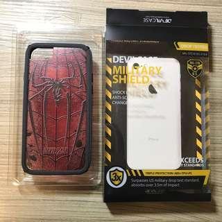 🚚 Devilcase 軍規盾 iphone6/6s/7/8通用殼 蜘蛛人背板+深藍黑邊框 有裂開
